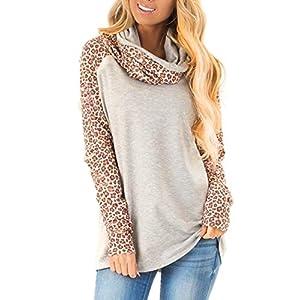 Fashion Shopping Blivener Women's Casual Sweatshirts Long Sleeve Leopard Print Tops Cowl Neck