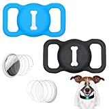 leQuiven Protective Case Compatible for AirTag, 2 Pack Pet Dog Cat Collar Locator Holder, GPS Finder Silicone Cover for Air Tag with 4 Pack HD Screen Protector for Airtags Case on Bag (Black+Blue)