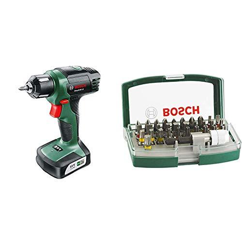 Bosch Taladro atornillador a batería EasyDrill 12 + Bosch 2607017063 - Set de 32 unidades para atornillar