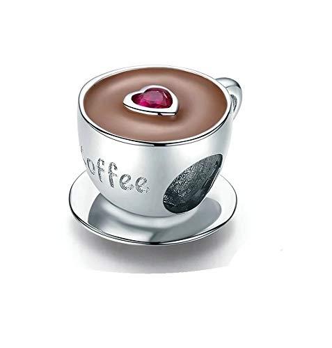 Charm Anhänger passend für Pandora Kaffee Tasse Kaffeetasse Kaffeebecher Perle Symbol 925 Silber moanani für Halskette und Armband
