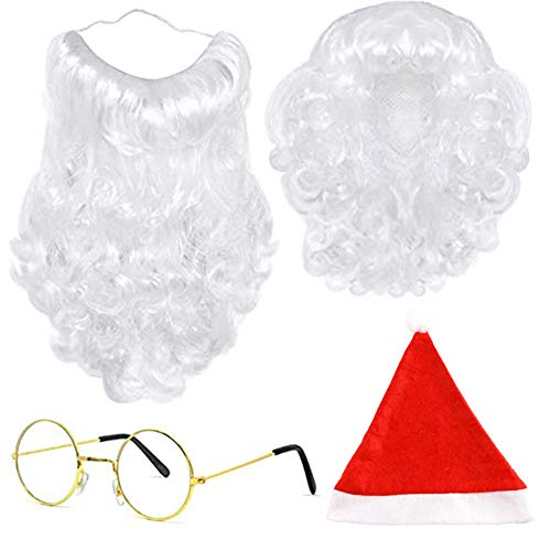 BigOtters Santa Costume Accessory, 4pcs Christmas Set with Glasses, Xmas Hat, Deluxe Long White Santa Claus Beard and Wig for Men Women Cosplay Dress up Props