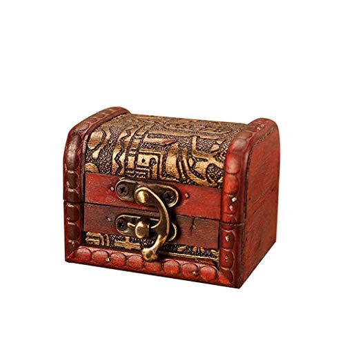 Snlaevx Vintage Europäische Schmuckschatulle Vintage Holzkiste Handgemachte Aufbewahrungsbox Veranstalter Schmuck Armband Box Geschenk Schatztruhe Sparschwein Piratentruhe Geldtruhe (Braun)