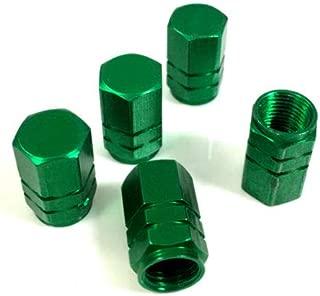 MiLanNuo 5 Premium Green Aluminum Tire/Wheel Air Stem Valve Caps for car-Truck-hot Rod