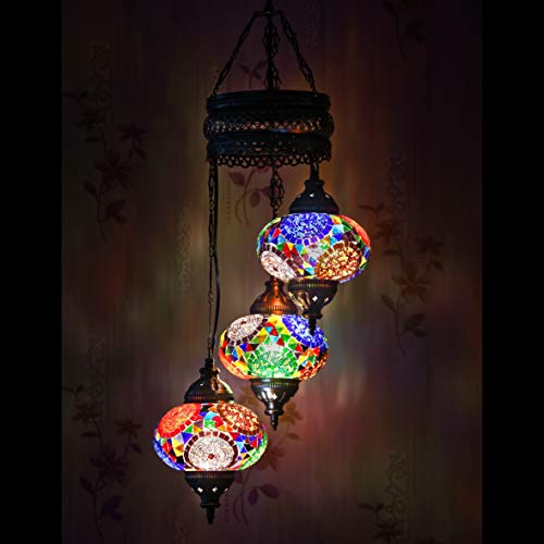 LaModaHome 35+ Unique Colors, 2020 Customizable Chandelier 3 Globes + Free 3 Bulbs, Stunning Mosaic Turkish Lamp Moroccan Light US Tiffany Lighting Ceiling Hanging Pendant Fixture Large Hardwired