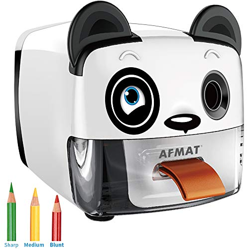 AFMAT Electric Pencil Sharpener for Kids, Heavy Duty Pencil Sharpener, Auto Stop Fast Sharpen Helical Blade for No.2/Colored Pencils(6.5-8mm), School/Office/Home (Panda Design)