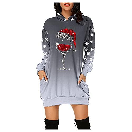 Weihnachten Damen Pullover, Teenager Mädchen Christmas Langarm Kleider Sweatshirt Pullover Hoodies Kleider Sweaterkleid Oberteile Sport Tops Minikleider Herbst...