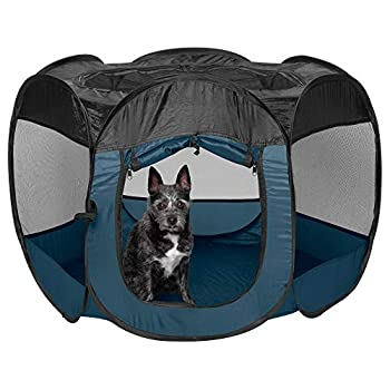 Furhaven Pet House for Dogs and Cats - Indoor-Outdoor Pop Up Playpen and Exercise Pen Dog Tent Puppy Playground Sailor Blue Small