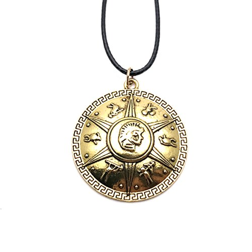 Collana con ciondolo con logo Percy Jackson, con scatola regalo, gioco, film, fumetti, film e supereroi, tema loghi, qualità premium, per cosplay