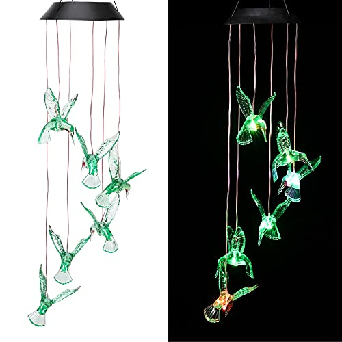 CAMMILE Solar Wind Chimes Outdoor Rainproof Changing Colors String Light Wind Chimes Hummingbird Yard Decorations Solar Light Mobile Yard Garden Patio Home Party Festival Decorative Light(Bird-Green)