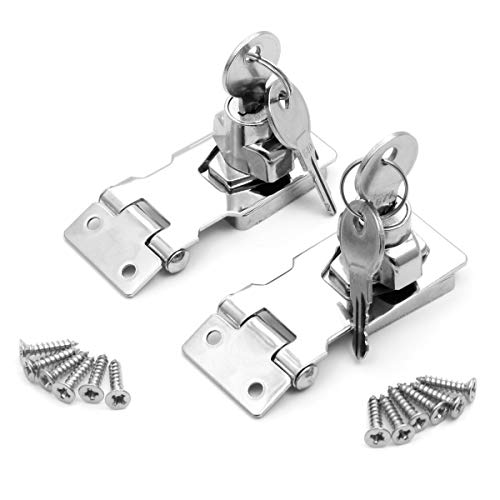 SurePromise 2 Pack Lock Hasp with Key Bolt Latch Buckle with Padlock Key for Doors Cabinets Windows (2.5 inch)