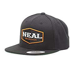 """NEAL Bearings Premium Classic Snapback Hat. 6-Panel, Structure with Green Undervisor. Height: 3 3/4"""" Plastic Snap Adjustable Closure 80% Acrylic, 20% Wool"""