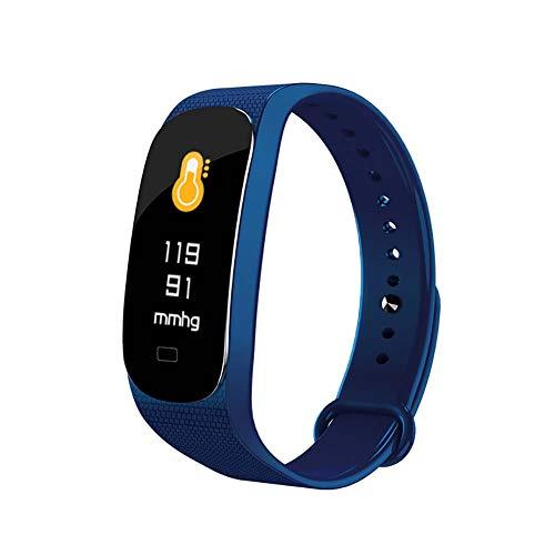 EisEyen - Braccialetto Fitness con Schermo a Colori, frequenza cardiaca, misurazione della Pressione sanguigna, pedometro, Stampa Push Blu