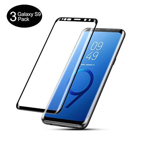 AMNIE [3 Stück Panzerglas Schutzfolie für Samsung Galaxy S9, Anti-Öl, HD, 9H Festigkeit, Blasen & Fingerabdruck, Einfaches Anbringen, Kratzer, Klar Bildschirmschutzfolie für Samsung Galaxy S9 – Schwarz