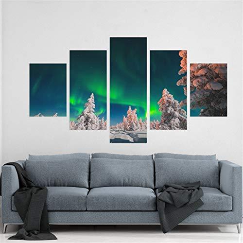 Preisvergleich Produktbild WSNDG Wulian Aurora Lake Shadow Nachtszene Dekoration Leinwand Gemälde Ohne Bilderrahmen F3 30x50cmx2 30x70cmx2 30x80cmx1