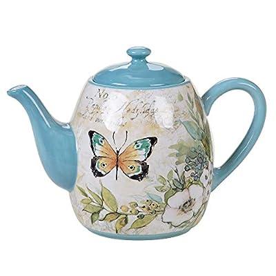Certified International Nature Garden 40 oz. Teapot, Multicolored