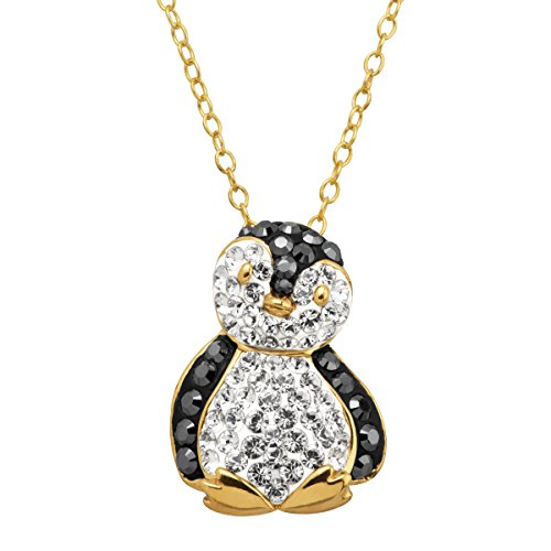 Penguin Pendant Necklace with Crystals in 18K Gold-Plated Sterling Silver
