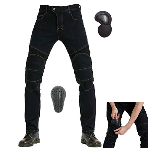 Summer Mesh Motorcycle Riding Jeans With Armor Motocross Racing Slim Stretch Pants L=32, Black