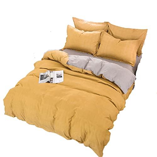 QQSM Ropa de cama de tres piezas de cuatro piezas, funda nórdica y funda de almohada, práctica y versátil, lavable a máquina, fácil cuidado y de cuidado fácil, color amarillo, juego de 4 piezas de 2 m