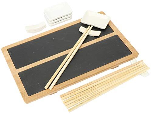 com-four® 13-teiliges Sushi Servierset - stylische Servierplatte aus Schiefer und Bambus-Holz - mit Schälchen für Soyasauce und Essstäbchen