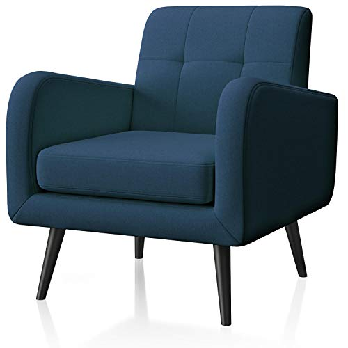 JustRoomy Armchair for Living Room Accent Chair Modern Linen Fabric Bedroom Chair Single Sofa Comfortable Upholstered Arm Chair with Tapered Legs Removable Seat Cushion for Small Spaces, Blue