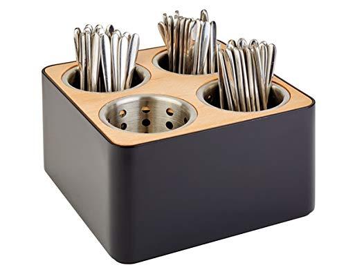 APS Besteckbehälter, Besteckkasten, Besteckbehältnis, 4 Löcher inkl. 4 Edelstahl Köcher, schwarz und braun, aus Edelstahl, Holz und SAN, 27 x 27 cm, 15 cm Höhe