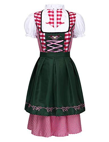 inlzdz 2Pcs Trachten Ladies Dirndl Short Midi Vestido Tradicional para Oktoberfest Traje de Tirolesa Oktoberfest Costume Mujer para Hallowen Verde Oscuro M