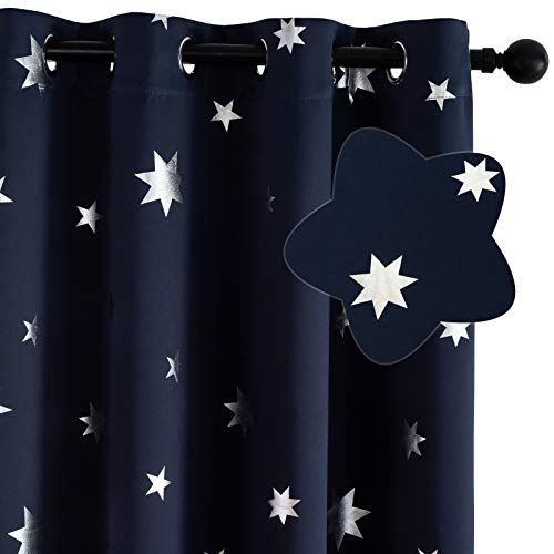 Lofus 100% Blackout Window Curtain Panels, 3 Thick Layer Silver Star Foil Print Grommet Curtains Noise Reducing Window Treatment Insulated Drapes 52x63 inch Long for Bedroom, 2 Panels, Navy Blue