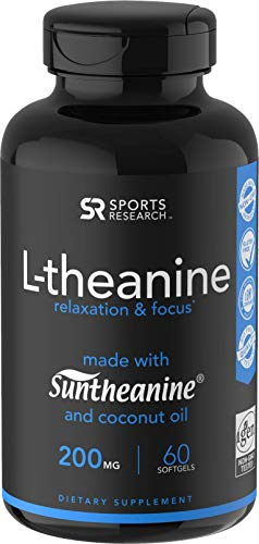 Suntheanine L-Theanine 200mg (Double-Strength) in Cold-Pressed Organic Coconut Oil; Non-GMO & Gluten Free - 60 Liquid Softgels