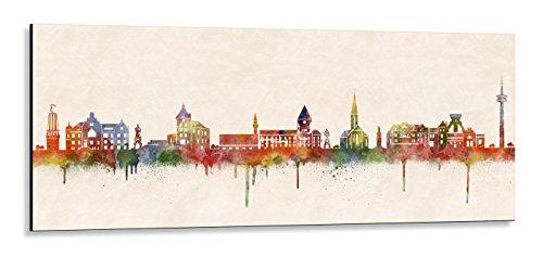 Acrylglas Wandbild Moers Skyline/Panorama - Acrylglas mit Alu-dibond-Aufhängesystem - Farbe (div. Größen) - Kunst Druck auf Acrylglas 20x50cm