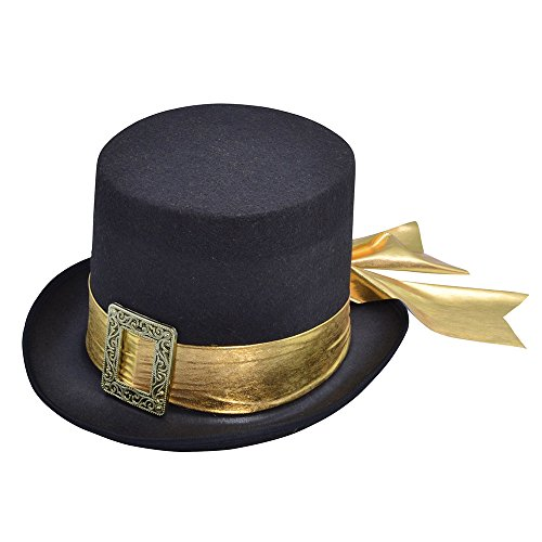 Bristol Novelty BH605 Top Hoed Zwart met Gouden Riem, Unisex-Volwassene, One Size
