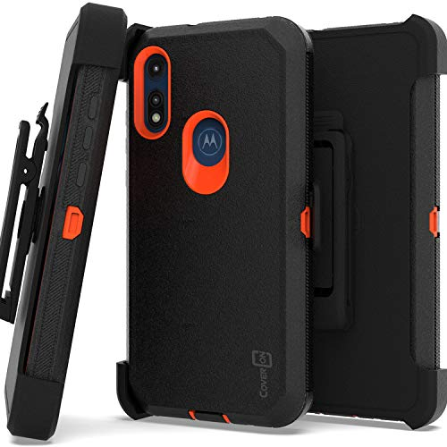 CoverON Rugged Holster for Motorola Moto E Case 2020, Heavy Duty Military Grade Belt Clip Phone Cover - Black