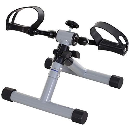 HOMCOM Mini Bicicleta Estática Pedaleador de Ejercicio Plegable con Resistencia Ajustable Entrenamiento de Piernas Brazos para Mujer y Hombre Pedales Personas Mayores 33x34x32 cm Plateado