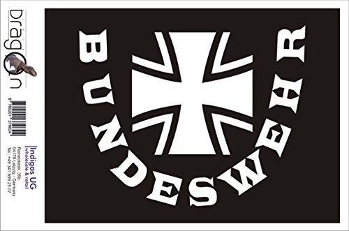 INDIGOS UG Aufkleber Autoaufkleber - JDM Die Cut Auto OEM - Bundeswehr - 150x200 mm weiß - Auto Laptop Tuning Sticker Heckscheibe LKW Boot