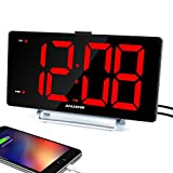 9' Digital Alarm Clock with Large LED Display,Big Number Easy to Read for Seniors,Dual Alarm with USB Charger Port,Simple Bedroom Table Nightstand Alarm Clocks,0-100 dimmable,Weekday/Weekend Mode