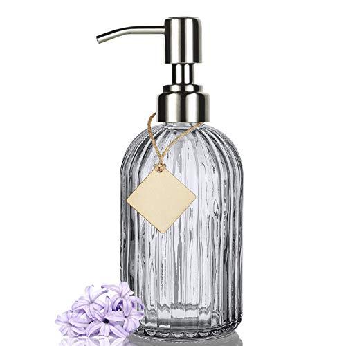 Pretigo Badezimmer-Seifenspender mit hochwertigem Klarglas, rostfreie Edelstahl-Pumpe, nachfüllbarer Flüssigseifenspender 473 ml