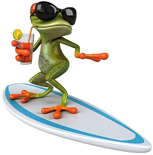 Sticker Surfer Frosch I 20 x 20 cm I für Laptop Koffer Badezimmer Duschwand als Auto-Aufkleber I lustig cool wetterfest I kfz_535