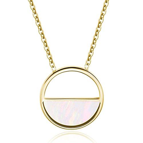 URBANHELDEN - Gold Kette mit rundem Perlmutt Anhänger - Edelstahlkette Kreis - Halskette - Damenkette Schmuck - Gold