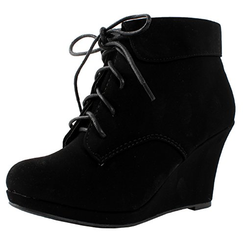 TOP Moda Womens Max-35 Max 35 Womens Wedge Ankle Booties,Black,7
