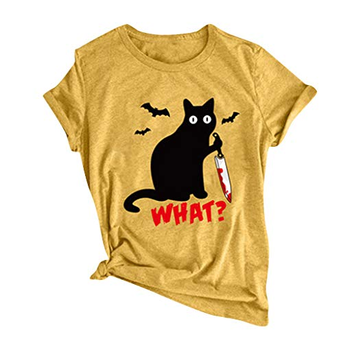 Willow S Women's Halloween Casual T-Shirt Black Cat Letter Funny Print O-Neck Top Blouse