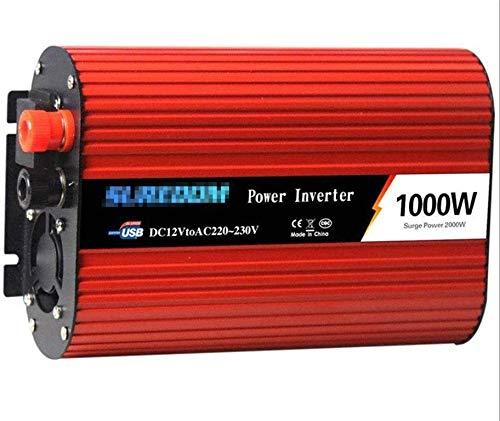 1000W Pure Sine Wave Inverter DC 12V 24V a 110V 220V AC, inversor de potencia de automóvil con adaptador más ligero del cargador de automóvil, convertidor de automóviles con puntos de venta universale