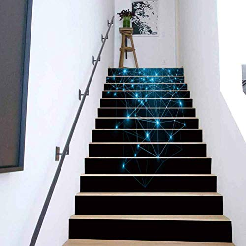 3D Stair Riser Stickers Wall Stair Stickers, Best Internet Concept of Global b, Stair Stickers Decals Wallpaper for Walls Kitchen Bathroom 39 3 x 7 08 Inch 13PCS/Set