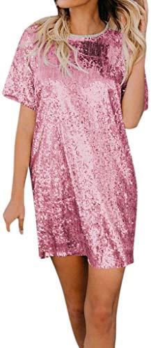 Señoras De La Rodilla-Longitud del Vestido De La Camisa De Manga Corta De La Falda del Verano del Vestido...