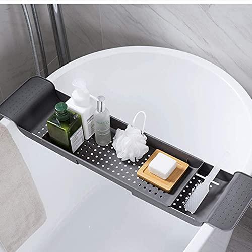 Llq2019 Soporte de plástico para bañera Bandeja de baño Extensible Carrito de bañera Bañera de Drenaje telescópica Organizador de Ducha de baño Estante de Almacenamiento para Lavabo de baño Gris