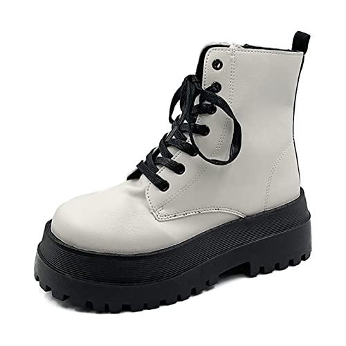 ZXCN Moda Mid-Becerro Botas Mujeres Tacones Gruesos Zapatos de Plataforma Damas Cruzadas atadas Botas Planas Planas PU Calzado de Cuero