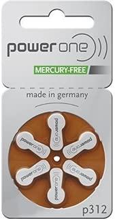 Power One Size 312 Zinc Air No Mercury (60 batteries) + Battery Caddy Keychain