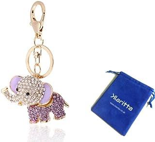 Klaritta HK26 Breloque porte-clé éléphant porte-bonheur Violet