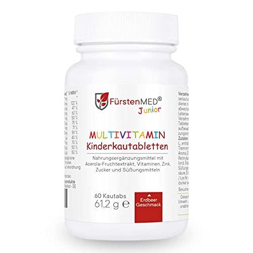 FürstenMED Multivitamin Kautabletten Erdbeere (60 Tabletten) Kinder Vitamine, Vegan, Laborgeprüft und vollständig hergestellt in Deutschland