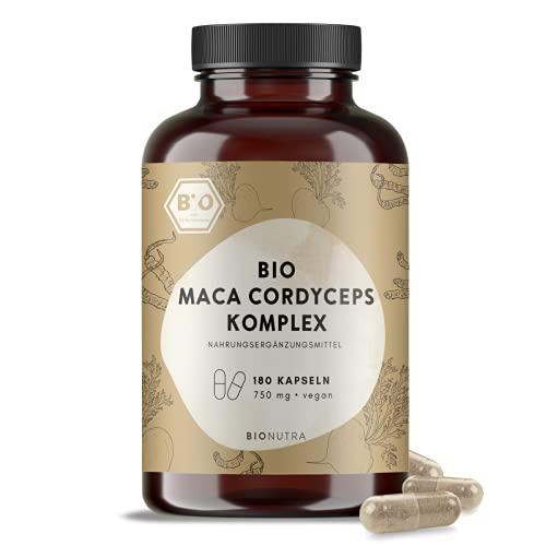 BIONUTRA® Maca Negra Cápsulas Complejas Bio (180 x 750 mg)   CALIDAD ALEMANA   100% ORGÁNICO   Paquete de 2 meses   con Cordyceps   vegano   sin aditivos
