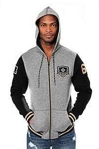 Ultra Game NFL New Orleans Saints Mens Full Zip Soft Fleece Hoodie Letterman Varsity Jacket, Team Color, Small