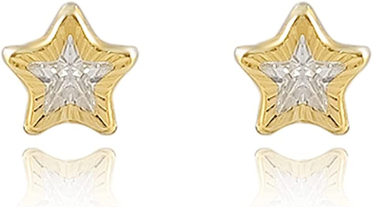 18K Gold Laminated Cufflinks Star with Zirconia, Measures 1cm High, .6cm Wide #389
